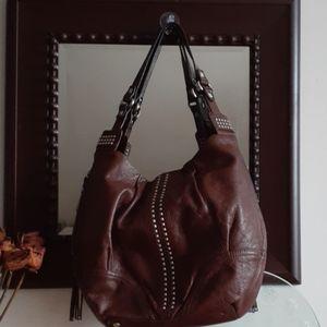 B Makowsky Studded Leather Hobo Bag